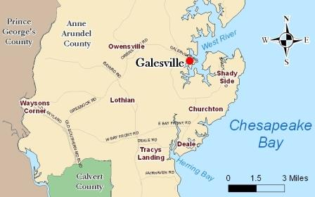 Galesville on the Anne Arundel County Map